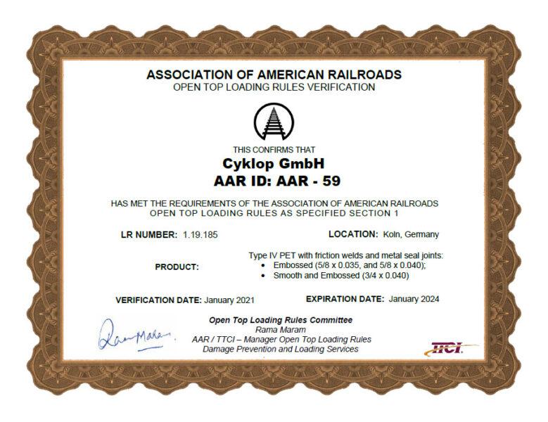 Aar Certificate